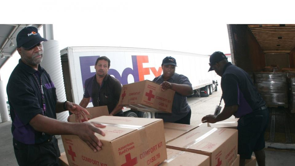 Team members loading cartons